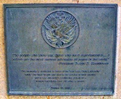 Fort Hays State University War Memorial Marker (front) Photo, Click for full size