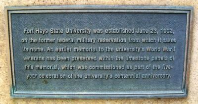 Fort Hays State University War Memorial Marker (back) image. Click for full size.