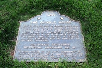 The Gamble House Marker image. Click for full size.