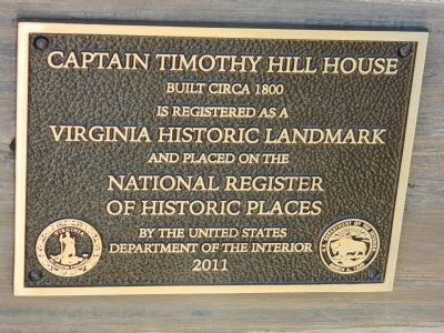 Captain Timothy Hill House Marker Photo, Click for full size