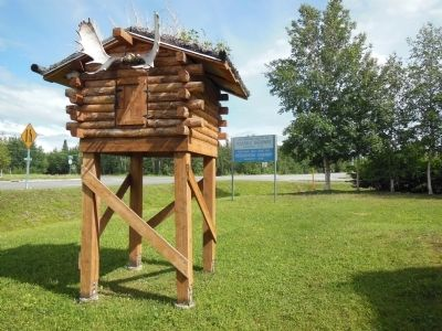 Sled Dog House with Moose Antlers Photo, Click for full size
