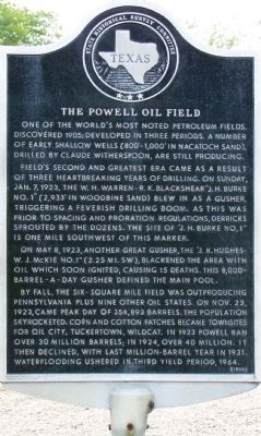 The Powell Oil Field Marker image. Click for full size.