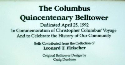 The Columbus Quincentenary Belltower Marker image. Click for full size.