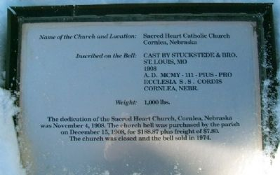 Sacred Heart Catholic Church Bell Marker image. Click for full size.