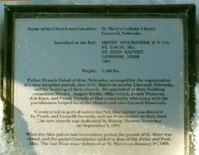 St. Mary's Catholic Church Bell Marker image. Click for full size.
