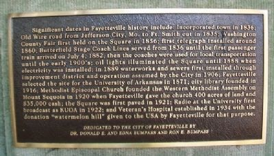 Significant Dates in Fayetteville History Marker image. Click for full size.