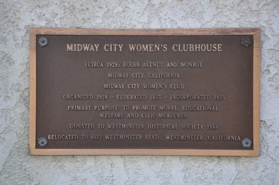 Midway City Women's Clubhouse Marker image. Click for full size.