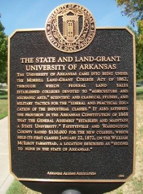 The State and Land-Grant University of Arkansas Marker image. Click for full size.