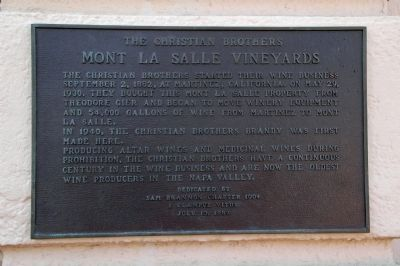 The Christian Brothers Mt. La Salle Vineyards Marker image. Click for full size.