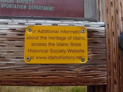 Idaho Historical Society Information found on every IDOT/IHS marker Photo, Click for full size