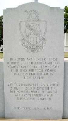 Oklahoma Military Academy War Memorial Dedication Photo, Click for full size