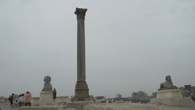 Pompey's Pillar and sphinxes Photo, Click for full size