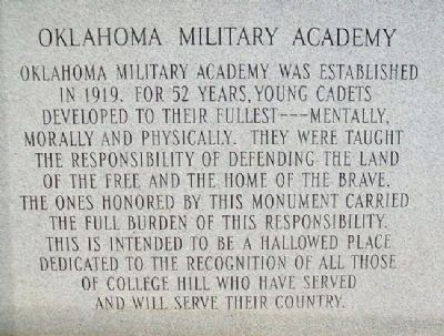 Oklahoma Military Academy War Memorial Photo, Click for full size