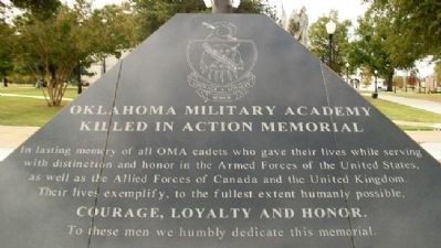 Oklahoma Military Academy KIA Memorial Dedication Photo, Click for full size