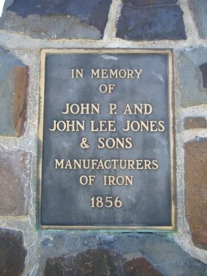 Plaque on monument at Jones Iron Works Park image. Click for full size.