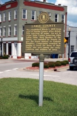 Side One Wide View - - Larue County / County Officials --- 1843 Marker Photo, Click for full size