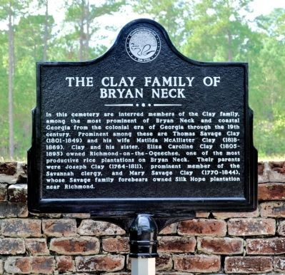 The Clay Family of Bryan Neck Marker Photo, Click for full size