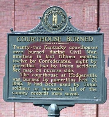 Side One - - Courthouse Burned Marker image. Click for full size.