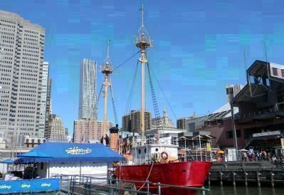 Pier 16 at South Street Seaport with the museum's 1907, ex-Coast Guard Lightship image. Click for full size.