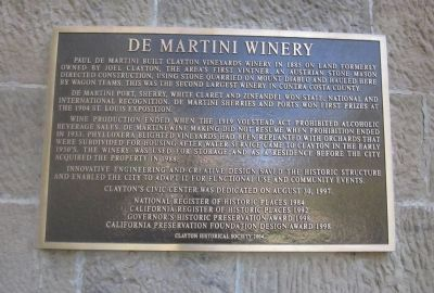 De Martini Winery Marker Photo, Click for full size