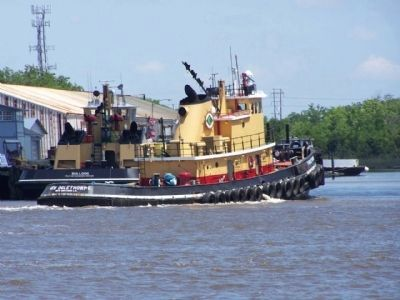 Savannah Waterfront, tugboat Gen.Oglethorpe working the Savannah River Photo, Click for full size