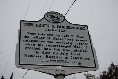 Frederick S. Duesenberg Marker Photo, Click for full size