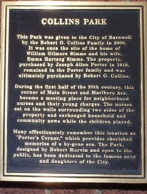 Collins Park Marker Photo, Click for full size