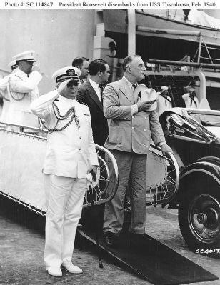FDR and his Naval Aide, then-Capt. Daniel J. Callaghan, 1940 Photo, Click for full size