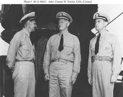 Medal of Honor recipients: CDR Herbert E.Schonland (left) & LCDR Bruce McCandless Photo, Click for full size