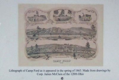 Lithograph of Camp Ford as it appeared in spring of 1865 image. Click for full size.