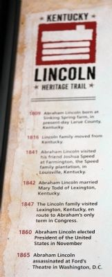 Insert - - Kentucky - Lincoln - - Heritage Trail image. Click for full size.