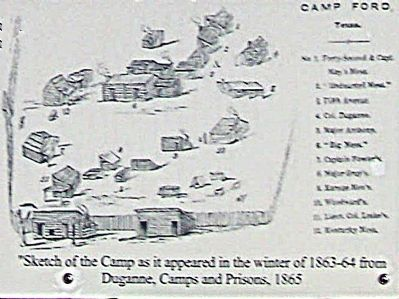 Sketch of the Camp as it appeared in the winter of 1863-64 from Duganne, Camps and Prisons, 1865 image. Click for full size.