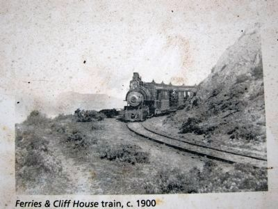 Sutro's Steam Train Marker - close-up of inset 1900 photo image. Click for full size.