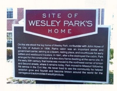 Site Of Wesley Park's Home Marker image. Click for full size.