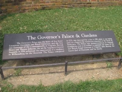 The Governor's Palace & Gardens Marker Photo, Click for full size