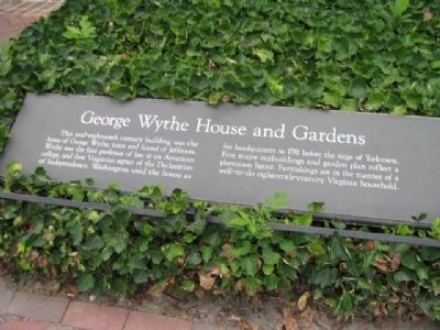 George Wythe House and Gardens Marker image. Click for full size.