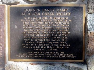 Donner Party Camp at Alder Creek Valley Marker image. Click for full size.