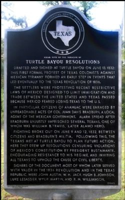 1. Turtle Bayou Resolutions Marker, By Jim Evans, October 13, 2012