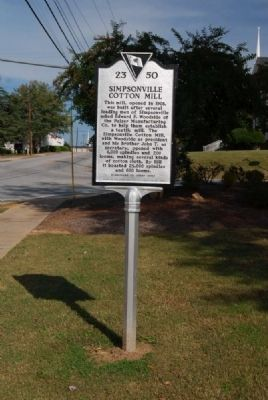 Simpsonville Cotton Mill Marker Photo, Click for full size