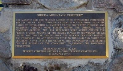 Sierra Mountain Cemetery Marker Photo, Click for full size