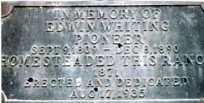 In Memory of Edwin Whiting Pioneer Marker image. Click for full size.