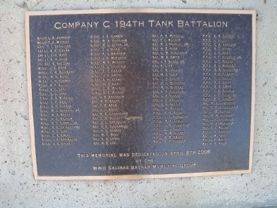 Company C 194th Tank Battalion Secondary Marker image. Click for full size.