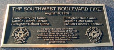 The Southwest Boulevard Fire Marker image. Click for full size.