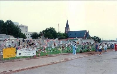 Oklahoma City Children's Memorial Fence in May 1996 Photo, Click for full size