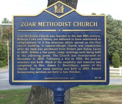 Zoar Methodist Church Marker Photo, Click for full size