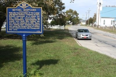 Bethel Shipyard Marker seen looking north on Main Street image. Click for full size.