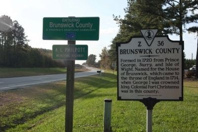 Brunswick County / Greensville County Marker, looking west along US 58 image. Click for full size.