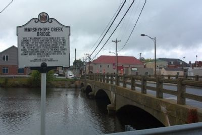 Marshyhope Creek Bridge Marker, along MD 306 E. Central Avenue, looking west image. Click for full size.