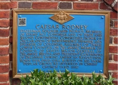 Caesar Rodney Marker, new paint scheme and QR Code (upper left corner) added in 2012 image. Click for full size.