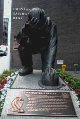 """The Kneeling Fireman"" statue - with the poem: ""A Fireman's Prayer"" Photo, Click for full size"